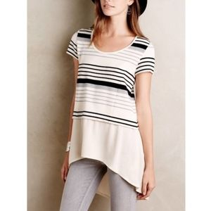 Anthropologie Striped Layered High Low Tunic Top